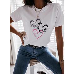 Corazón Impresión Carta Cuello Redondo Manga Corta Camisetas