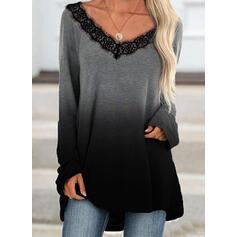 Lace Gradient V-Neck Long Sleeves Sweatshirt