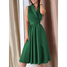 Solid Sleeveless A-line Knee Length Party/Elegant Wrap/Skater Dresses