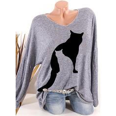 Animal Print V-Neck Long Sleeves Casual Knit T-shirts