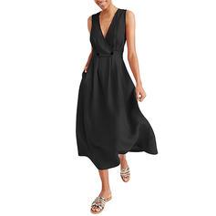 Μονόχρωμο Αμάνικο Φαρδύ Κάτω Μικρό μαύρο/Καθημερινό Μίντι Сукні