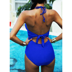 Solid Color Halter V-Neck Sexy One-piece Swimsuits