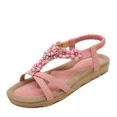 Női Műbőr Lapos sarok Szandál Peep Toe Zárt szandál -Val Hegyikristály Virág Rugalmas pánt cipő
