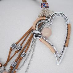 À la mode Argent tibétain Cristal Corde en cuir avec Glands Femmes Collier de mode