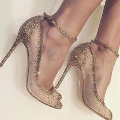 Mesh Stiletto Heel Peep Toe Pumps With Rhinestone