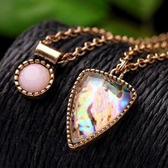 Glänzende Legierung mit Strass Frauen Halsketten