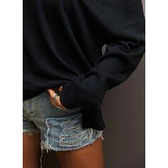 Sólido Um ombro Casual Suéteres