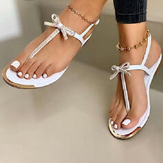 Women's PU Flat Heel Sandals Flats Peep Toe Flip-Flops With Bowknot shoes