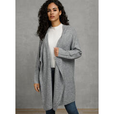 Solid Collarless Asymmetrical Cardigan
