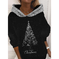 Print pailletter Figur Lange ærmer Jule sweatshirt
