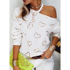 Print Hart One Shoulder Lange Mouwen Casual Overhemd