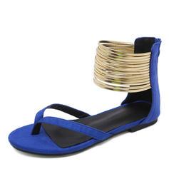Femmes Suède Talon plat Sandales Chaussures plates À bout ouvert Tongs avec Zip chaussures