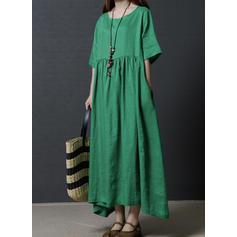 Jednolita Rękawy 1/2 Koktajlowa Casual Maxi Sukienki