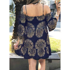 Plus Size Print 3/4 Sleeves Flare Sleeve A-line Above Knee Boho Casual Sexy Vacation Dress