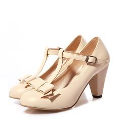 Naisten Keinonahasta Chunky heel jossa Bowknot Solki kengät