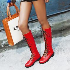 Жіночі Шкіра Низький каблук Чоботи середньої довжини з Зашнурувати взуття
