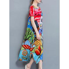 Print Short Sleeves Shift Casual/Boho/Vacation Midi Dresses