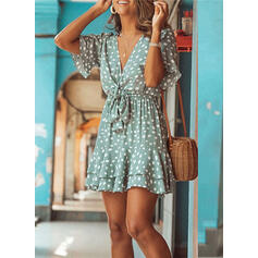 PolkaDot 1/2 Sleeves A-line Above Knee Casual/Vacation Dresses