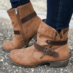 Women's PU Chunky Heel Martin Boots With Buckle Zipper shoes
