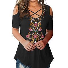 Nadruk Kwiatowy Odkryte ramię Rękaw 1/2 Casual T-shirty