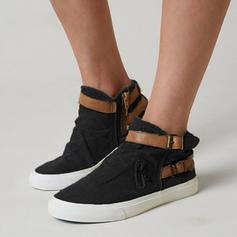 Femmes Treillis Talon plat Chaussures plates Bout fermé avec Boucle chaussures