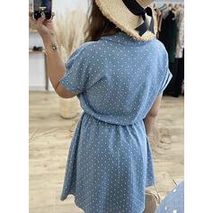 PolkaDot Short Sleeves A-line Above Knee Casual Skater Dresses