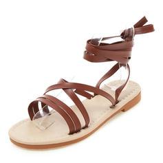 Women's PU Flat Heel Sandals Flats Peep Toe Slingbacks With Lace-up shoes