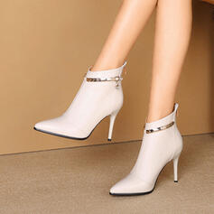 Women's PU Stiletto Heel Boots With Rhinestone Zipper Chain Others shoes