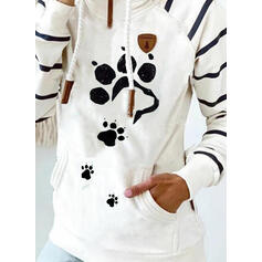 Animal Print Striped Pockets Long Sleeves Hoodie