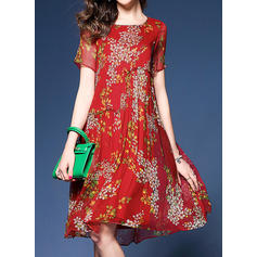 Print/Floral Short Sleeves A-line Knee Length Casual/Elegant/Boho/Vacation Dresses