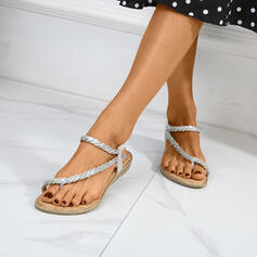 Women's Leatherette Flat Heel Sandals Flats Slingbacks Slippers Toe Ring With Rhinestone shoes