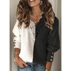 Color Block Patchwork V-Neck Casual Sweaters
