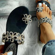 Donna PU Senza tacco Sandalo Punta aperta con Strass scarpe
