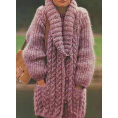 Solid Tricot Cablu Bucată tricotată Cep Comod Lungi Cardigan