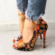 Frauen PU Stöckel Absatz Sandalen Peep Toe mit Schnalle Schuhe