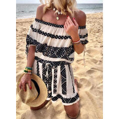 Print 1/2 Sleeves A-line Above Knee Casual/Vacation Skater Dresses