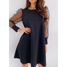 Solid Long Sleeves/Puff Sleeves Shift Above Knee Casual/Elegant Tunic Dresses