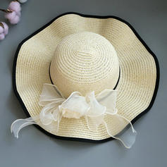 Ladies' Special/Elegant/Eye-catching Raffia Straw With Tulle Straw Hats