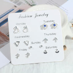 Flower Shaped Star Shaped Alloy Earrings (Set of 7)