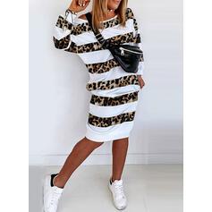 縞模様の/ヒョウ 長袖 シースドレス 膝丈 カジュアル スウェットシャツ ドレス
