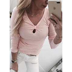 Solid V-Neck Long Sleeves Casual T-shirts