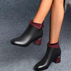 De mujer PU Tacón ancho Botas al tobillo Encaje con Cremallera Color sólido zapatos