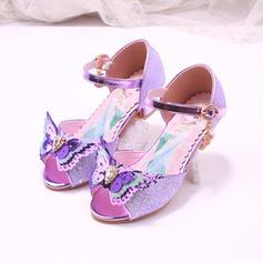 Шкіра Круглий палець взуття на короткій шпильці Взуття для дівчаток з Бант