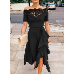 Lace/Solid Short Sleeves A-line Knee Length Little Black/Party/Elegant Skater Dresses
