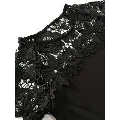 Dentelle/Couleur Unie Manches Courtes Droite Au-dessus Du Genou Petites Robes Noires/Décontractée Robes