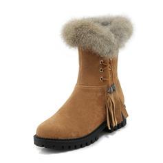 Femmes Suède Talon bas Bout fermé Bottes Bottes mi-mollets Bottes neige avec Tassel Fausse Fourrure chaussures