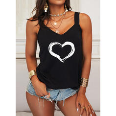 Print Heart Strap Sleeveless Casual Tank Tops