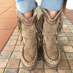 Vrouwen PU Flat Heel Laarzen met Tassel schoenen