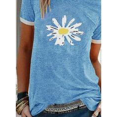 Nadruk Kwiatowy Okrągły dekolt Krótkie rękawy Casual T-shirty