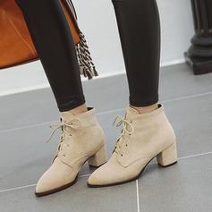 Vrouwen Suede Chunky Heel Enkel Laarzen met Vastrijgen schoenen